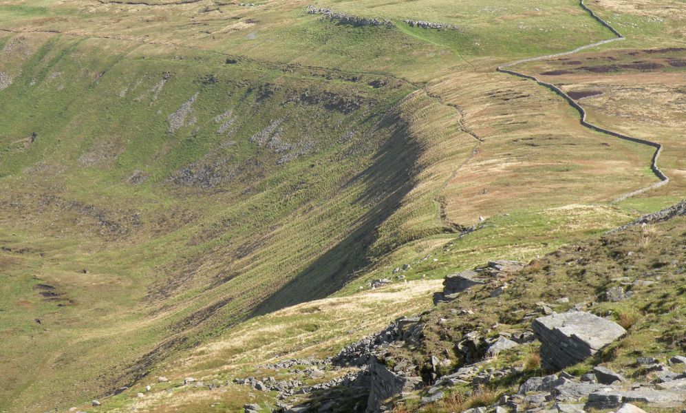 Looking down Swine Tail from close to Ingleborough summit plateau